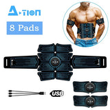 A-TION 8 Pads Abdominal Muscle Toner, Abs Trainer EMS Muscle Stimulator Electronic Muscle Trainer, Abdominal Toning Belts For Men Women Smart Body Building