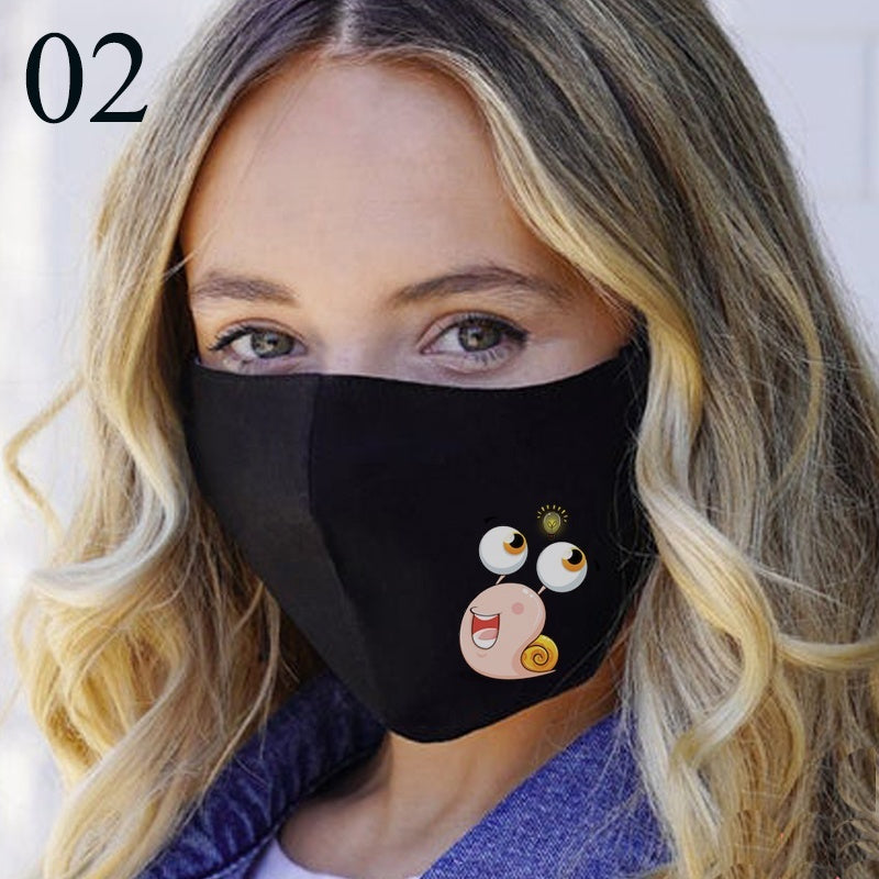 2020 New Design Women Anti-infection Cotton Reusable Full Face Mask Washable Snail Printing Mask
