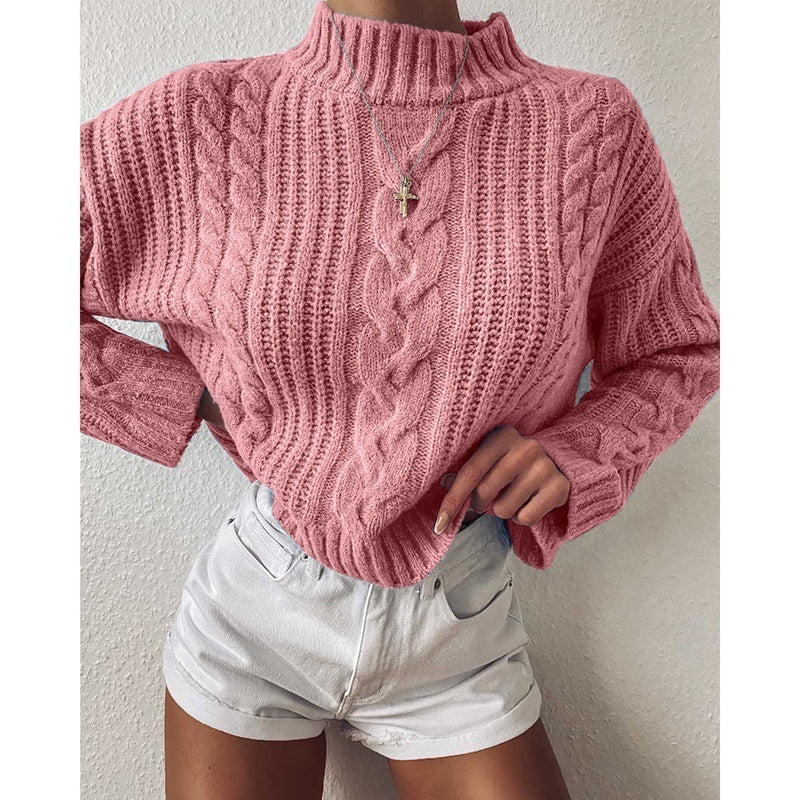 NEW Fashion Women Knitted Sweater Women Turtleneck Solid Color Knitted Slim Autumn Winter Crop Top Sweater Casual  Warm Long Sleeve Sweater Cute Collar Pullover Sweater Cotton Cardigan Sweaters Tank Top Plus Sizes