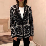 Deep V-Neck Long Sleeve Women's Coat Hand-made Pearl Slim Temperament Suit Coat