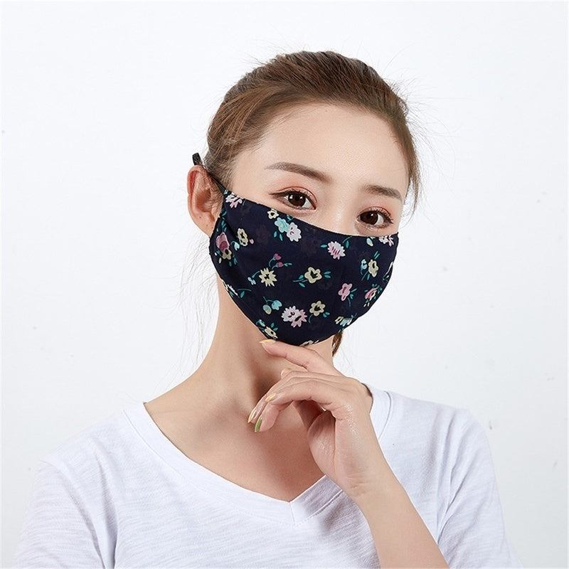 Women Thin Chiffon Floral Print Mask Fashion Reusable Washable Ladies Face Masks Anti Dust Sunscreen Face Cover