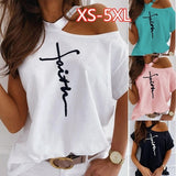 Plus Size Summer Fashion Off Shoulder Short Sleeve Cotton Tops Print T-shirt Women Loose Casual Tees