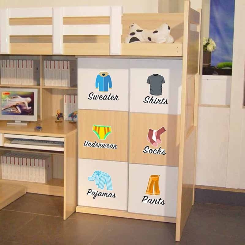 New Home PVC Sticker bedroom wardrobe Clothes classification mark Graffiti wall stickers