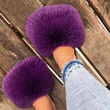 Plus Size 34-45 Ladies Girls Plush Slides Fashion Slip On Open Toe Sandals Comfortable Flat Fluffy Fur Slippers Furry Shoes