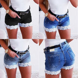 Women Slim Denim Shorts Stretch Lace Stitching Jeans Shorts Ladies Casual Regular Short