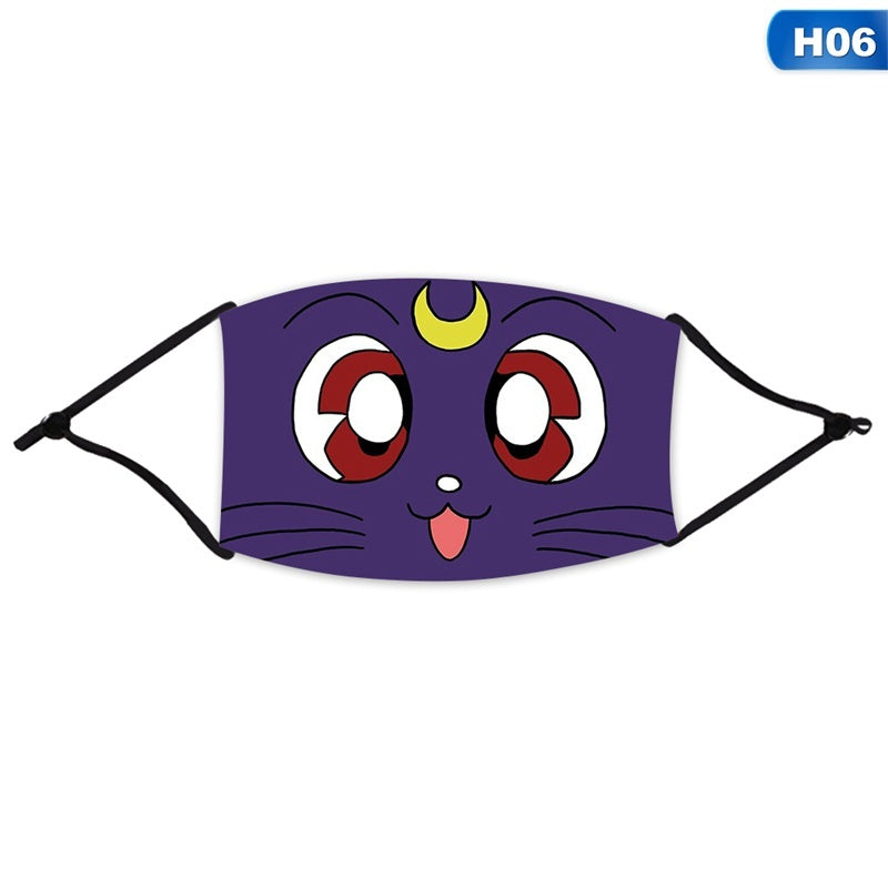 With 1Filter Unisex 3D Anime Sailor Moon Reusable Face Mask Ice Silk Dust-Proof Funny Cute Cartoon Washable Mouth Mask