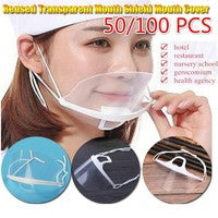 100PCS Reusable Transparent Anti-fog and Anti-saliva Mouth Shield Plastic Chef Mouth protection