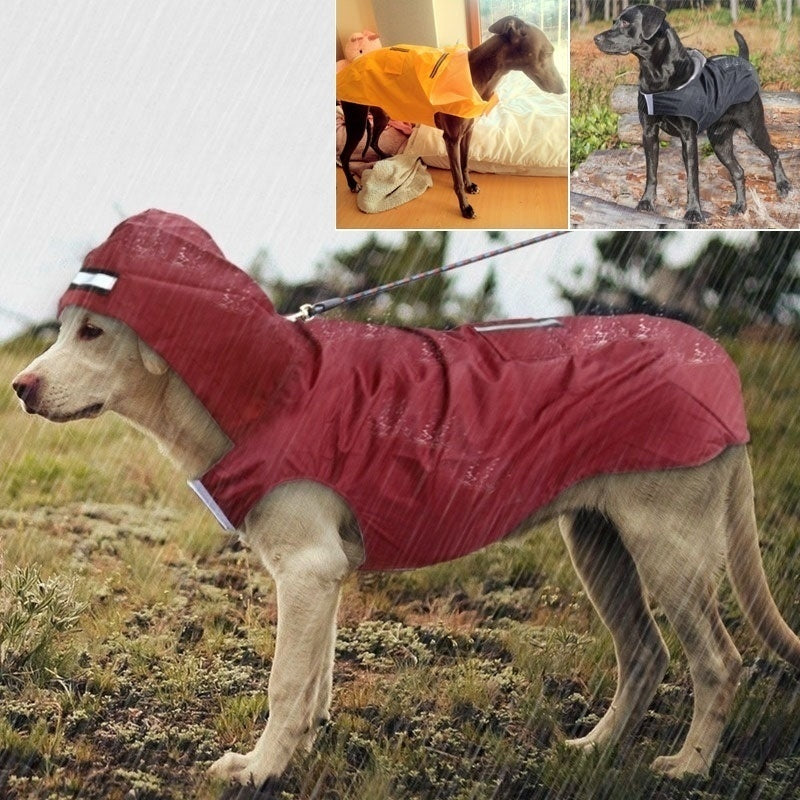 2020 New Pet Large Dog Raincoat Waterproof Big Dog Clothes Outdoor Coat Safty Reflective Strip Rain Jacket for Golden Retriever Labrador Husky Big Dogs S-6XL