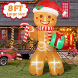 PartyForYou 8FT Large Inflatable Gingerbread Man with LED Lights Yard Outdoor for Christmas Decor