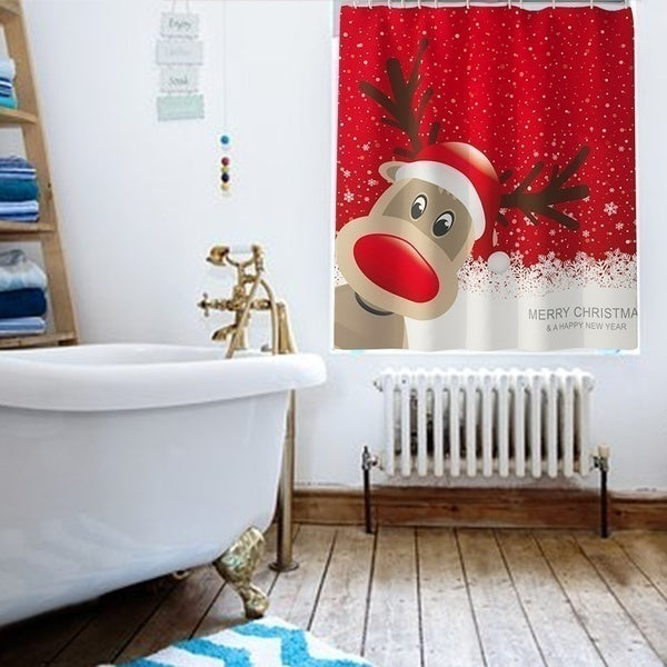 7 Styles Full Set Christmas Santa Claus Snowman Personalized Printing Waterproof Shower Curtain Non-slip Mats Bath Carpets Toilet Seat Cover Floor Mat Bathroom Decor