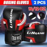 Professional Boxing Gloves for Men Women Breathable PU Leather MMA Gloves for Martial Arts Training, Grappling, Kickboxing, Muay Thai