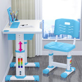 60-70CM Height Children Study Desk Writing Table Chair Set With Reading Rack Pen Case Cabinet Home Supplies School Plastic Adjustable Kids Reading Drawing Table
