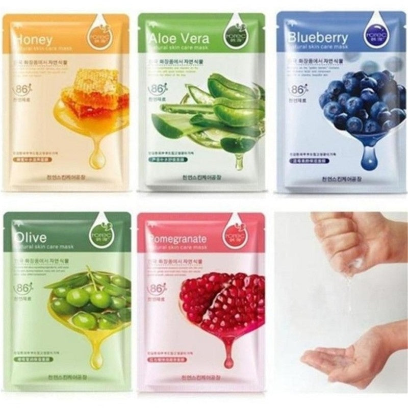 1/5pcs/set Skin Care Food Sheet Face Mask Moisturizing Oil Control Whitening Shrink Pores Korean Facial Mask Cosmetics
