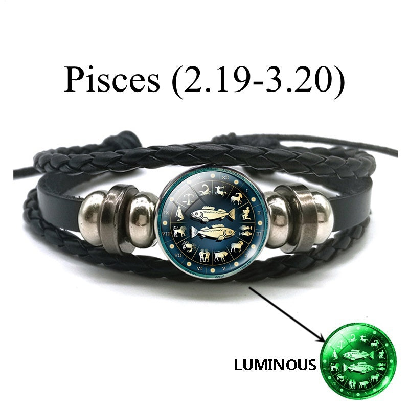 Luminous Charm Bracelet 12 Zodiac Sign Leo Libra Sagittarius Capricorn Aquarius Braided Leather Bracelet Glowing Jewelry
