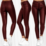 Women's Bottoms Pure Color Trousers Sexy Pu Black Leather Pants Hose Leather Skinny Pants Stretch Hipsters Plus Size