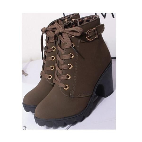 New The Bottom of The Thick Heel Short Boots with High Restoring Ancient Ways with Female Boots Size 35-43