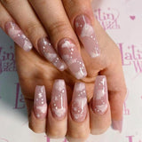 24pcs/set Full Cover Fake Nails Tips Matte Full Coverage Long Ballerina Coffin False Nail Art Manicure French Manicure Tools