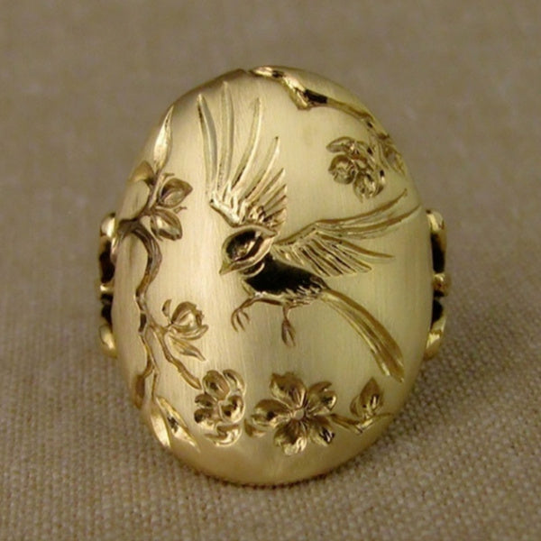 Elegant Woman Fashion Exquisite 18K Solid Gold Carved Flower and Bird Ring Bridal Anniversary Engagement Wedding Ring Girlfriend Mom Wife Birthday Gift Jewelry US Size 5-11