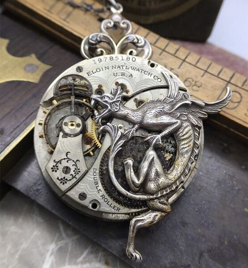 Retro personality domineering Victorian Steampunk 925 pure silver dragon Necklace 18K clockwork Pendant Art Jewelry Steampunk jewelry boyfriends party accessories father's day birthday gift men's luxury jewelry