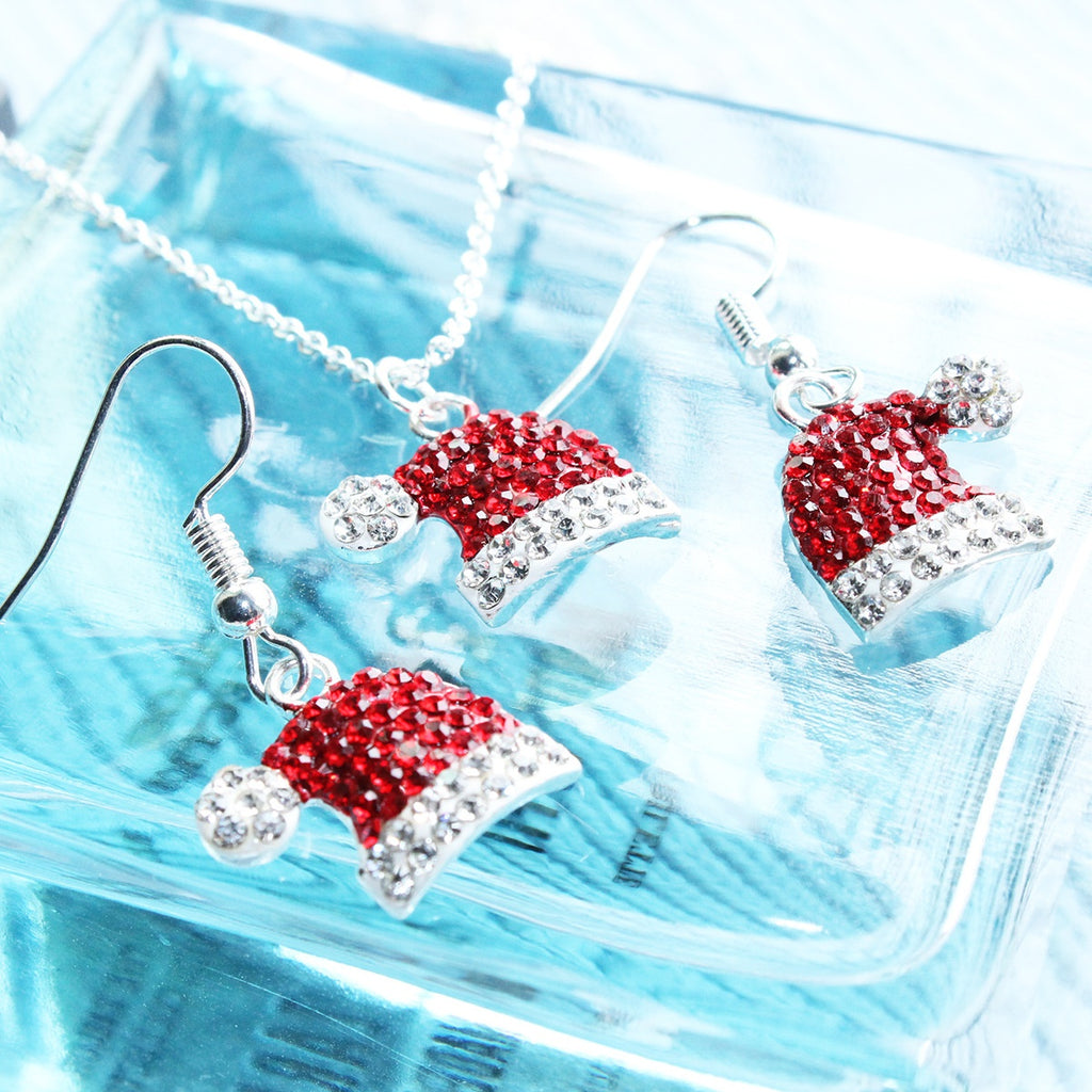 New Fashion European and American Christmas Jewelry Three-piece Necklace Earrings Ruby Set Cute Girl Lady Princess Red Elk Snowflake Antlers Christmas Beautiful Set of Ornaments