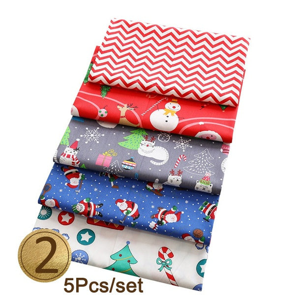 Pre-Cut Cartoon Christmas Cotton Fabric Assorted Bundle Cotton Quilt Fabric Quilting Patchwork Accessories Knitting Supplies