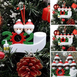 Quarantine Family 2020  Eith LED light Christmas Tree Hanging Ornament with Face Mouth Mask Hand Sanitizer Toilet Paper Personalized Xmas Gifts