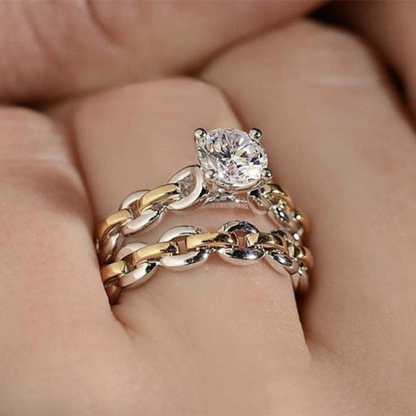Unique Design Super Noble Temperament 2pcs/Set Princess 925 Sterling Silver Chain Wedding Ring Set Lovers Jewelry 18K Pure Gold Natural White Sapphire Diamond Ring Set Romantic Bride Engagement Wedding Anniversary Birthday Party Christmas Gift Jewelry Set