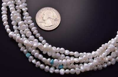 Silver & Dry Creek Turquoise & Fresh Water Pearl Necklace by Erick Begay ZC19M