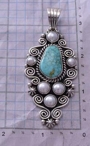 Silver & #8 Spiderweb Turquoise & Fresh Pearl Navajo Pendant Erick Begay ZC19D