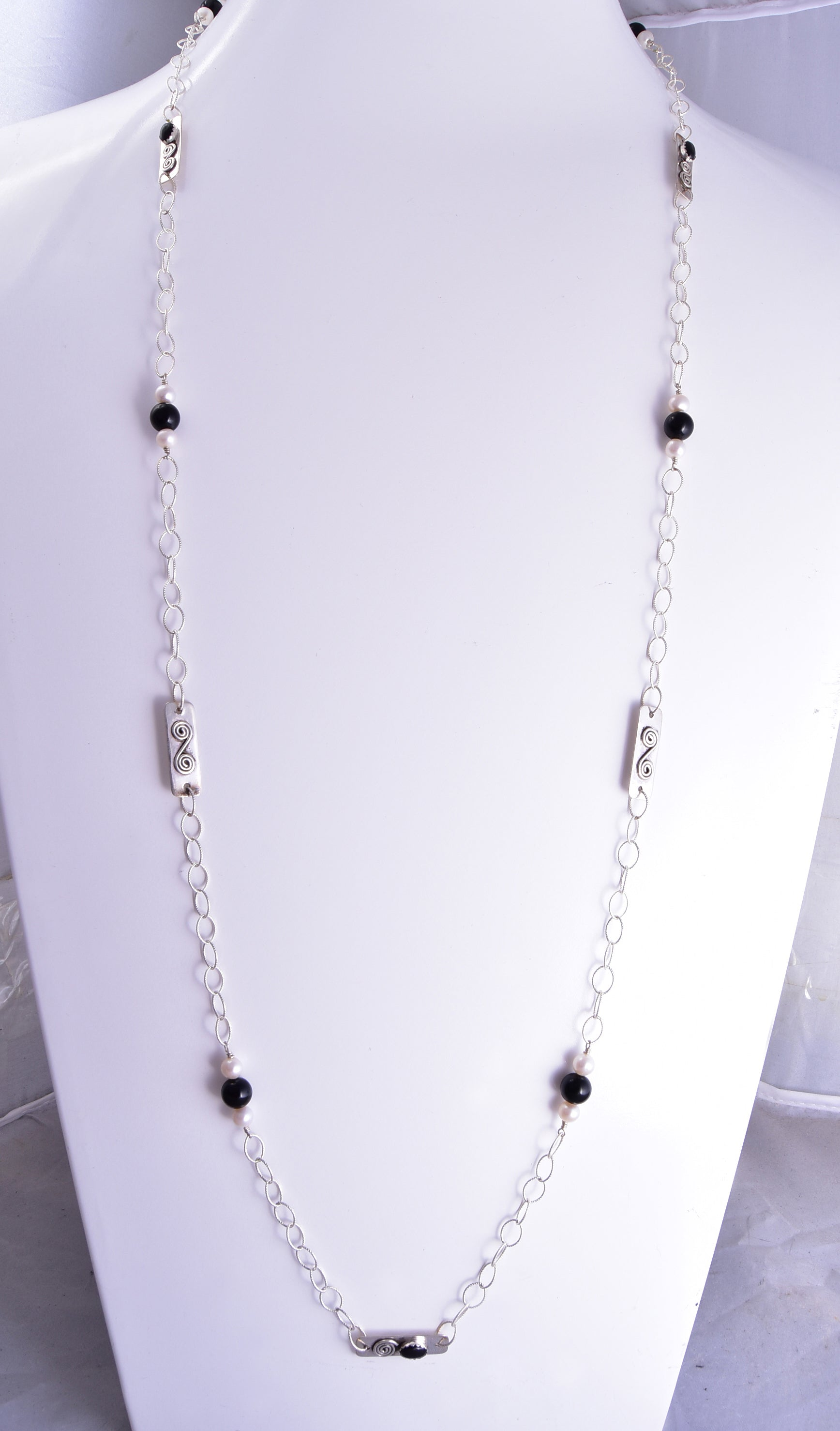 "42"" Silver & Onyx & Fresh Water Pearl Long Navajo Necklace by Erick Begay ZG31J"