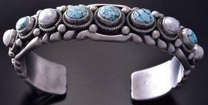 Silver & #8 Spiderweb Turquoise & Fresh Pearl 5 Stone Bracelet Erick Begay ZC27S