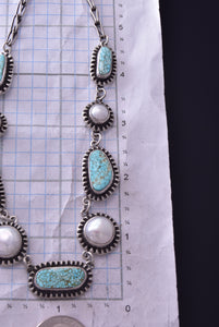 Pearl and Turquoise Necklace by Erick Begay ZD07F