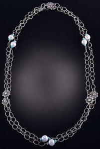 "40"" Silver & Fresh Water Pearl Flowers Long Navajo Necklace by Erick Begay ZL10U"