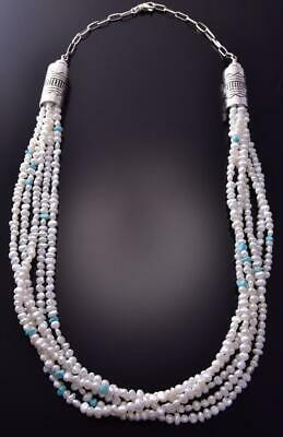 Silver & Dry Creek Turquoise & Fresh Water Pearl Necklace by Erick Begay ZC19L