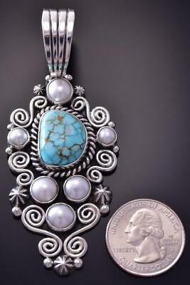 Silver & #8 Spiderweb Turquoise & Fresh Pearl Navajo Pendant Erick Begay ZC19Z