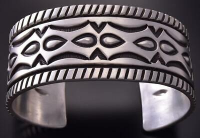 All Silver Concho Belt Navajo Handstamp MATTE Men's Bracelet Erick Begay ZC27F