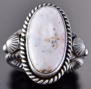 Size 6-1/4 Silver & White Buffalo Turquoise Navajo Ring by Erick Begay 1B08N