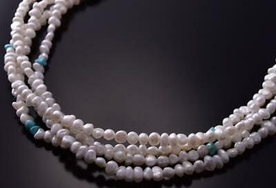 Silver & Dry Creek Turquoise & Fresh Water Pearl Necklace by Erick Begay ZC19N