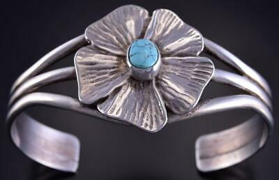 Silver & #8 Spiderweb Turquoise Navajo Flower Bracelet by Erick Begay ZL07B