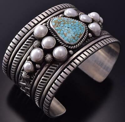Silver & #8 Spiderweb Turquoise & Fresh Pearl Concho Bracelet Erick Begay ZC27L