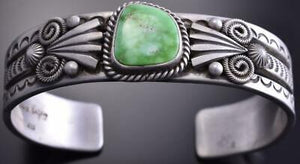Silver & Carico Lake Turquoise Navajo Style Concho Bracelet by Erick Begay 8H12U