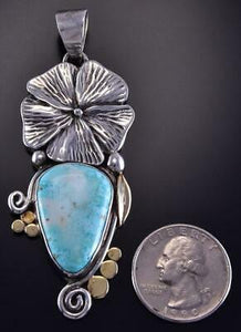 Silver & Turquoise & 18k Gold Navajo Flower Pendant by Erick Begay ZL07R