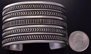 All Silver Navajo Hand Stamp 5 Lines Wide Bracelet by Erick Begay ZC27O