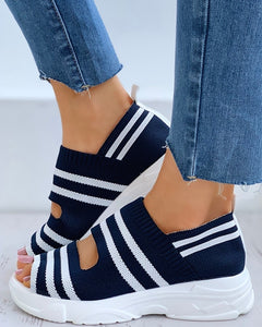 Striped Colorblock Peep Toe Wedge Heeled Sandals