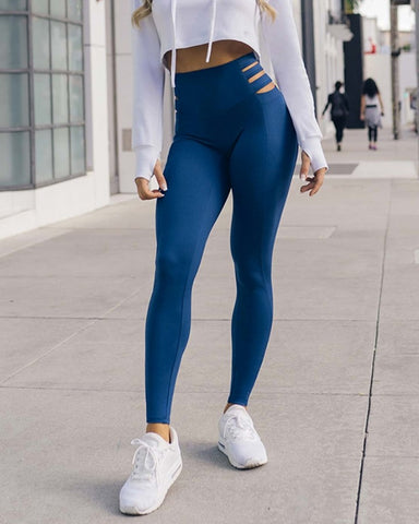 Solid Color Cut-out High Waist Skinny Yoga Pants