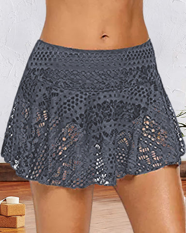 Crochet Lace Hollow Out Swimwear Culotte Shorts