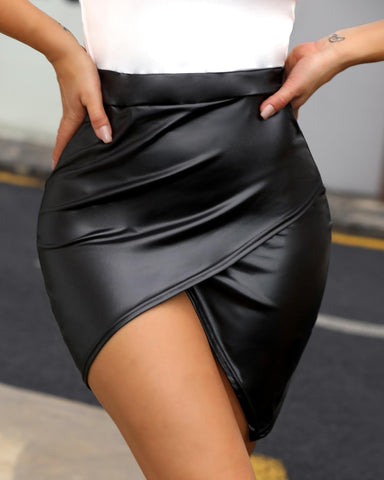 High Waist Surplice PU Skirt