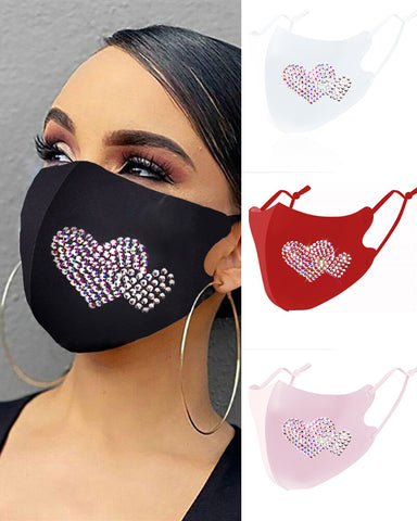 Heart Pattern Studded Breathable Face Mask