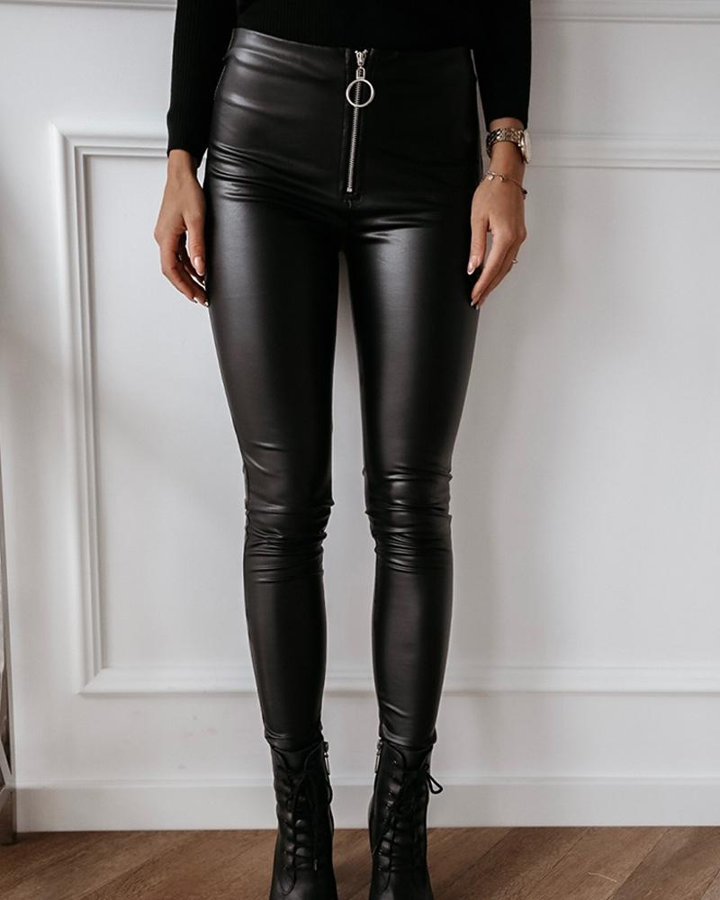 Solid Skinny Zipper PU Pants