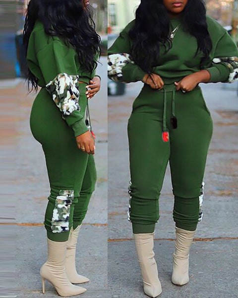 Camouflage Print Colorblock Top & Drawstring Pants Set